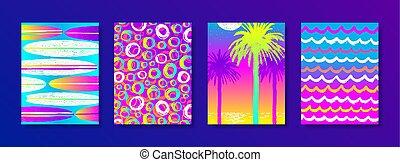 été, ensemble, vacances, fetes, fond, dessiné, main, multicolore