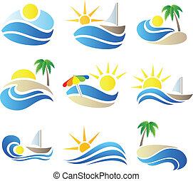 été, ensemble, vacances, icône, nature
