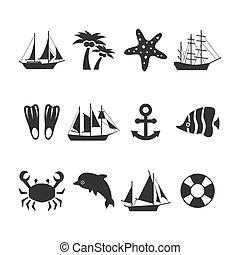 été, ensemble, vacances, mer, icônes