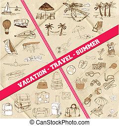 été, ensemble, -, voyage vacances, thème, vecteur, dessiné, main