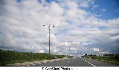 été, -, ensoleillé, autoroute, route ouverte