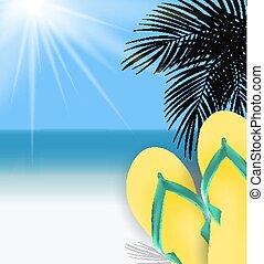 été, ensoleillé, illustration, arrière-plan., vecteur, temps, plage