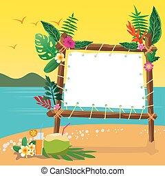 été, espace, fetes, arrière-plan., copie, plage