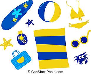 été, et, plage, icônes, et, accessoires, -, retro, (, jaune bleu