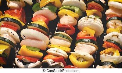 été, extérieur, coloré, savoureux, grillé, barbecue, shashliks