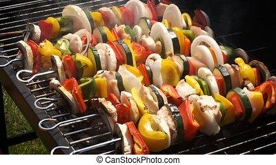 été, extérieur, coloré, savoureux, grillé, barbecue,...