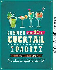 été, fête, cocktail, affiche