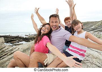été, famille heureuse, fetes