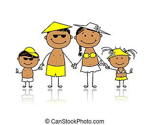 été, famille, holidays., conception, ton, heureux