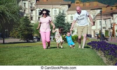 été, famille, park., 4k, dehors, amusement, avoir, heureux