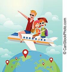 été, famille, vacation., voyage, avion, illustration, vecteur, voyage, concept., promenades, dessin animé, heureux