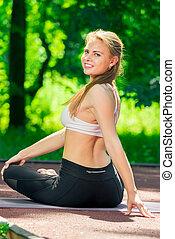 été, femme, ensoleillé, sports, parc, gymnastique, va, actif, jour