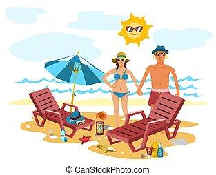 été, femme, illustration., nature, coupler vacances, exotique, sable, vecteur, temps, plage, homme
