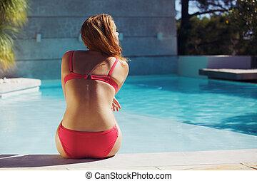 été, femme, jeune, apprécier, piscine, natation