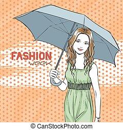 été, femme, parapluie, élégant