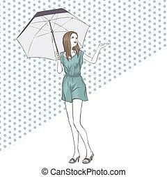 été, femme, parapluie, élégant, longueur, entiers, robe