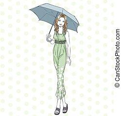 été, femme, parapluie, élégant, longueur, entiers