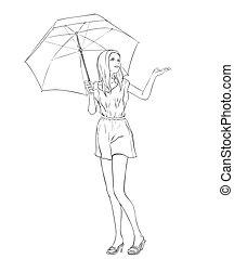 été, femme, parapluie, art-line, longueur, entiers, noir, blanc