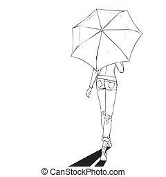 été, femme, parapluie, art-line, longueur, entiers, noir, sous, blanc