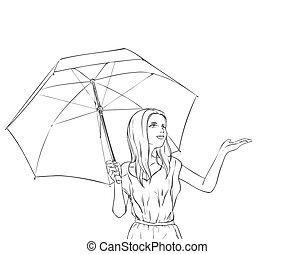 été, femme, parapluie, art-line, noir, portrait, blanc