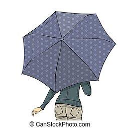 été, femme, parapluie, dos, longueur, entiers