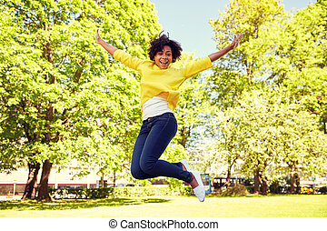 été, femme, parc, jeune, américain, africaine, heureux