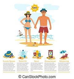 été, femme prendre bain soleil, nature, couple, infographics, vacances, exotique, sable, vecteur, temps, homme, plage, illustration.