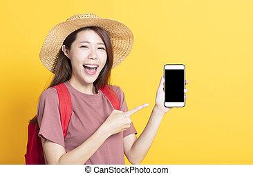 été, femme, projection, jeune, téléphone, chapeau, intelligent, heureux