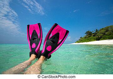 été, femme relâche, nageoires, sand., nageoires, vacances, fetes, legs., plage, plongeur, mensonge