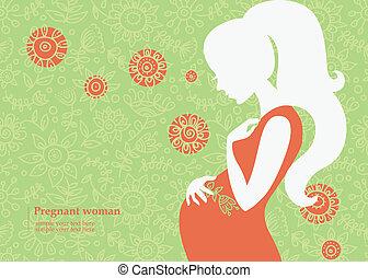 été, femme, silhouette, pregnant