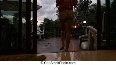 été, femme, tropiques, couple, cuisine, promenade, terrasse, barbecue, fête, avoir, homme