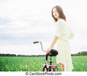 été, femme, vélo