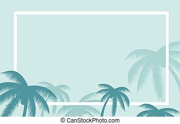 été, feuille, autour de, elements., border., arbre, feuilles, text., exotique, vecteur, paume, fond, bannière