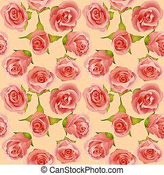 été, feuilles, délicat, fond, roses