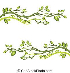 été, feuilles, vert, carte