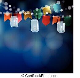été, ficelle, festa, pot, juin, lumières, brouillé, junina.,...
