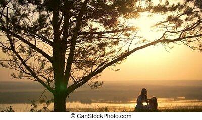 été, fille, elle, couronne, arbre, grand, coucher soleil,...