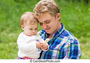 été, fille, père, parc, portrait, heureux