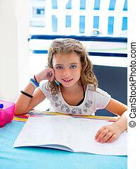 été, fille souriant, enfants, devoirs, gosse