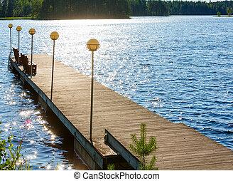 été, (finland)., lac, vue
