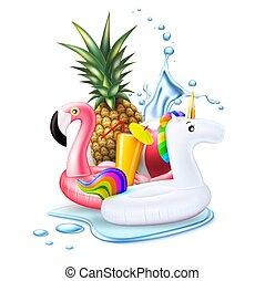 été, flamant rose, feuille, exotique, vecteur, fête, piscine