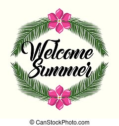 été, fleur, feuilles, accueil, décoration, paume, branche