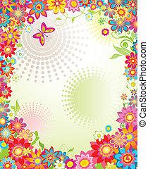 été, fleurs, bannière, coloré
