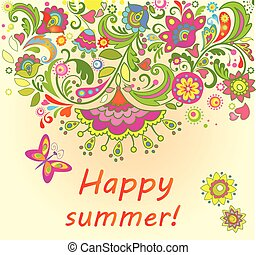 été, fleurs, carte, coloré