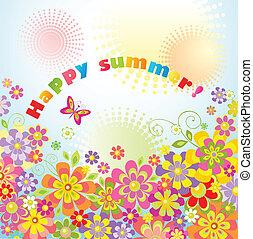 été, fleurs, carte voeux