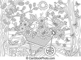 été, fleurs, couple, oiseaux, agréable, gard, paysage