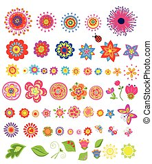 été, fleurs, ensemble, coloré