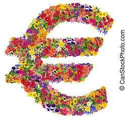 été, fleurs, euro signe