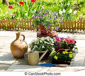 été, fleurs, jardin