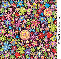 été, fleurs, papier peint